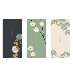 Japanese floral background asian banner vintage vector