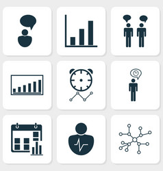 Management icons set with bar chart personal vector