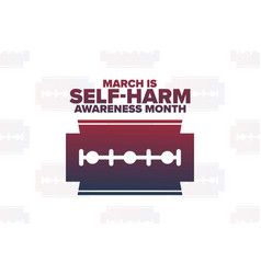 March is self-injury or self-harm awareness month vector