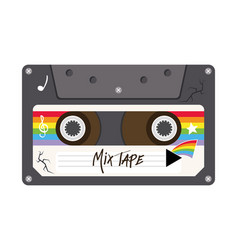 Mix tape retro cassette design vector