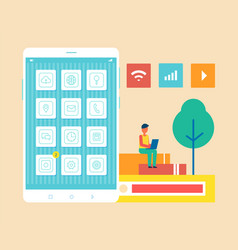 mobile phone man developer vector image