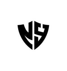 Ny monogram logo with shield shape design template vector