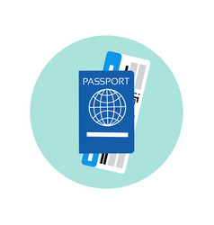 passport and ticket on plane icon travel documents vector image