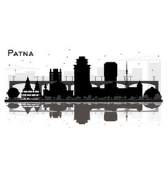 patna india city skyline silhouette with black vector image