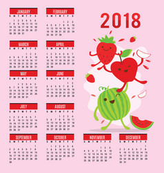 Planner calendar 2018 fruit cute cartoon vector