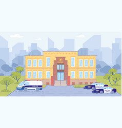police station building with cars on cityscape vector image