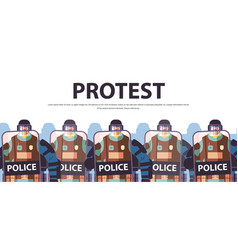 policemen with shields and batons riot police vector image