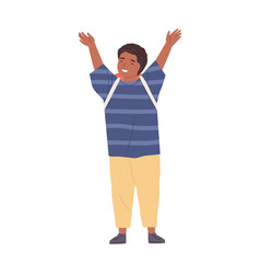 Positive smiling schoolboy with hands raised up vector