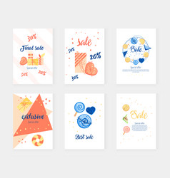 Postcard with delicious cakes and giftsbig sale a vector