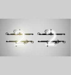 Realistic glowing grey neon charcter on and off vector