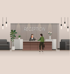 reception service receptionist and customer in vector image