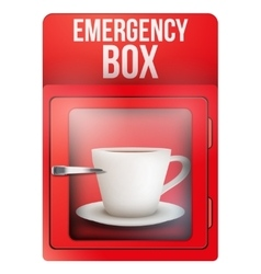 Red emergency box with cup of coffee vector