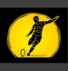 Rugplayers action cartoon sport graphic vector