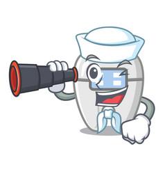 Sailor with binocular braces in a cartoon vector