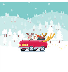 santa driving car in snowy landscape vector image