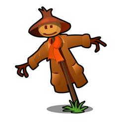 scarecrow in the red scarf and brown hat isolated vector image