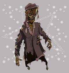 Scary zombie in tattered santa claus costume vector