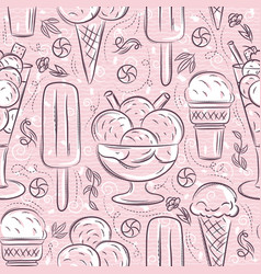 Seamless patterns with ice cream on pink vector
