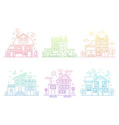 set gradient line urban and suburban houses vector image