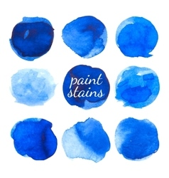 Set of blue ink stains isolated on white vector image