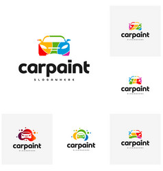 Set of car paint logo template design vector