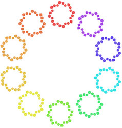 set of wreaths of multi-colored snowflakes on a vector image