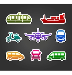 Set stickers transport color signs vector