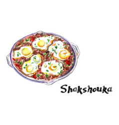 Shakshouka middle eastern traditional dish vector