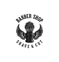 shaving brush and wings hand drawn barber shop vector image