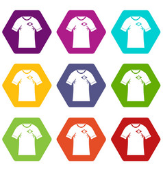 shirt with flag of brazil sign icon set color vector image