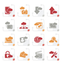 Stylized cloud services and objects icons vector