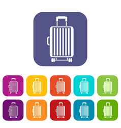 Suitcase on wheels icons set vector