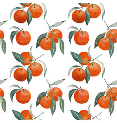 Tangerine branches seamless pattern vector