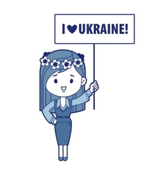 Ukranian girl with message vector image