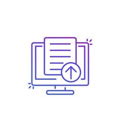 Upload document file via computer icon line vector