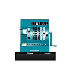 vintage cash register on a white background front vector image