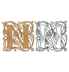 Vintage initial letter n with baroque decoration vector