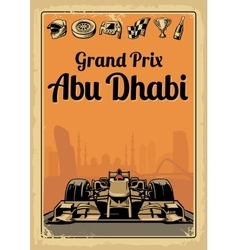 Vintage poster Grand Prix Abu Dhabi vector image