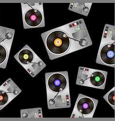 vinyl record players seamless pattern vector image