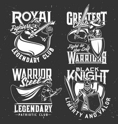 warrior knight in armor t-shirt print royal club vector image