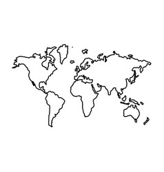 World map the black color icon vector