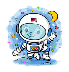 Young astronaut in space vector
