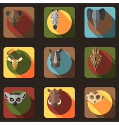 Animal Portrait Set with Flat Design vector image