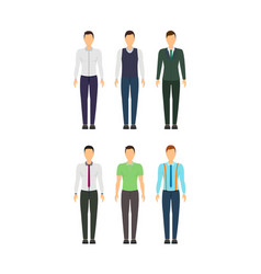 cartoon business man set staff dress style vector image vector image