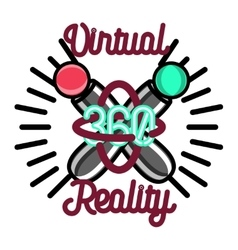 Color vintage Virtual Reality emblem vector image