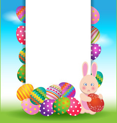 Colorful eggs and bunny for Easter day greeting vector image