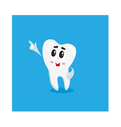 funny shiny white tooth character pointing to vector image vector image