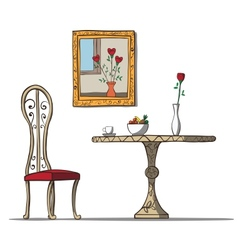Vintage interior with table chare flowers and vector image vector image