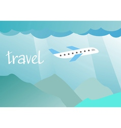 aircraft flying in the sky over the mountains vector image vector image