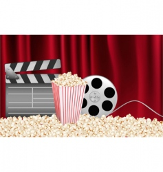 cinema background with curtains vector image vector image